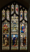 Stained glass window East Bergholt church, Suffolk, England, UK, Annunciation, Saint Maria, Saint Elizabeth c 1891 by Lavers, Barraud and Westlake