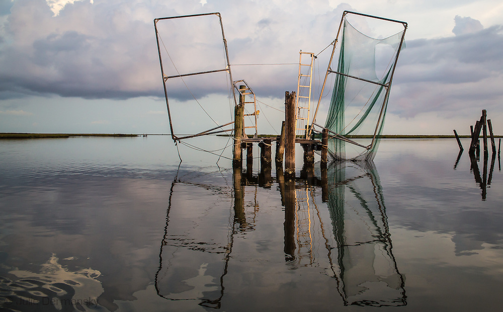 Shrimp fishing stand  off Isle de Jean Charles deep in the bayous of Terrebonne Parish in South Louisiana. The marsh land is disappearing at a fast clip due to coastal erosion.