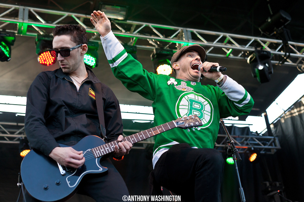 Matt Pruitt (left) and Mike McColgan of the band Street Dogs perform during Shamrockfest on the grounds of RFK Stadium in Washington, DC on Saturday, March 21, 2015.