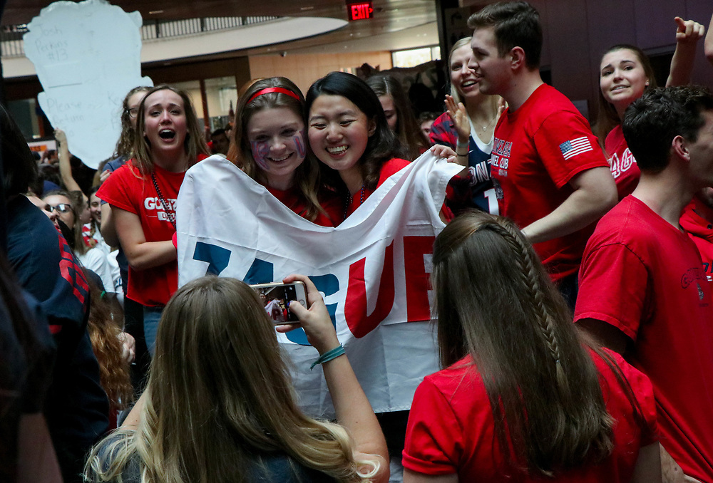 Over 1500 GU students gathered to cheer the Gonzaga Men's Basketball team onto victory. The Final Four Watch Game Party took place Hemmingson.