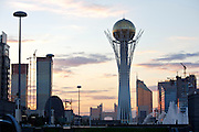"""The Baiterek is the New Astana's main symbol and landmark. State Gas Headquarters (backgr. m.) - the """"Ashtray""""; Transport Ministry (r.) - the """"Lighter""""."""
