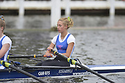 Henley, GREAT BRITAIN. Junior Women's Quadruple Scull. Canford School, leading, Tideway Scullers' School. in their Friday heat. 2012 Henley Royal Regatta. ..Friday  12:18:48  29/06/2012. [Mandatory Credit, Peter Spurrier/Intersport-images]...Rowing Courses, Henley Reach, Henley, ENGLAND . HRR.