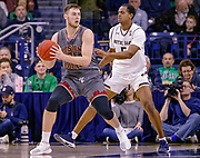 SOUTH BEND, IN - JANUARY 12: Nik Popovic #21 of the Boston College Eagles holds the ball against D.J. Harvey #5 of the Notre Dame Fighting Irish at Purcell Pavilion on January 12, 2019 in South Bend, Indiana. (Photo by Michael Hickey/Getty Images) *** Local Caption *** Nik Popovic; D.J. Harvey