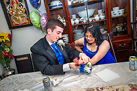 Middletown, New Jersey: Justin Haggan and Hema Ramaswamy, students in the special education program at Middletown High School South, prepare for their senior prom. Later that night, they were crowned prom king and queen after a vote of the entire senior class on June 3, 2011.