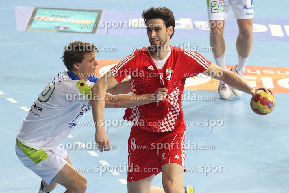 25.01.2013 Barcelona, Spain. IHF men's world championship, 3º/4º place. Picture show Marko Kopljar in action during game between Slovenia vs Croatia at Palau St. Jordi