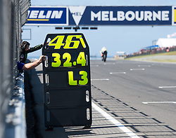 October 20, 2017 - Melbourne, Victoria, Australia - Info board belonging to Italian rider Valentino Rossi (#46) of Movistar Yamaha MotoGP is shown to him during the first free practice session of the MotoGP class at the 2017 Australian MotoGP at Phillip Island, Australia. (Credit Image: © Theo Karanikos via ZUMA Wire)