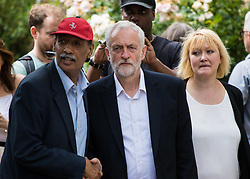 St. Clement's Church, Notting Dale, London, June 15th 2017. Labour Leader Jeremy Corbyn visits one of the relief centres near the scene of the devastating  Grenfell Tower fire which has claimed the lives of at least 12 people, with many more missing and dozens injured, leaving every resident in the building homeless.