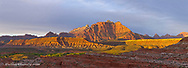 Mount Kinesava bathed in sunset light at Zion National Park, Utah, USA