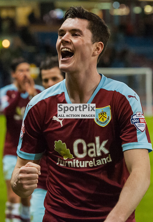 Burnley defender Michael Keane (5) celebrates after his sides 4-1 win in the Championship match between Burnley and Derby County<br /> (c) John Baguley | SportPix.org.uk