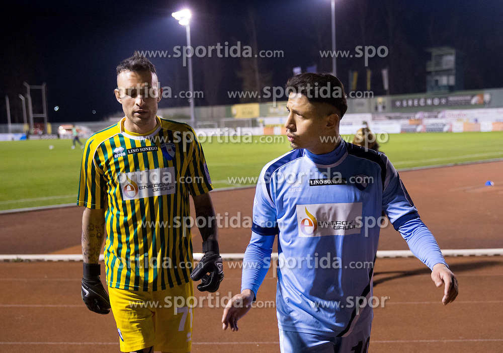 Alex Cordaz and Gianluca Lapadula of Gorica during football game between NK Rudar and ND Gorica in 1st Leg of Semifinal of Slovenian Cup 2013/14, on March 26, 2014 in Velenje, Stadion Ob jezeru, Slovenia. Photo by Vid Ponikvar / Sportida