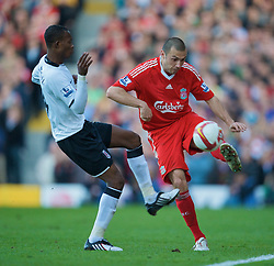 LONDON, ENGLAND - Saturday, April 4, 2009: Liverpool's Andrea Dossena in action against Fulham during the Premiership match at Craven Cottage. (Pic by David Rawcliffe/Propaganda)