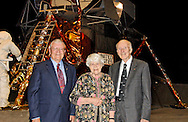 "April 24, 2010 - GARDEN CITY, NY - Astronaut Fred Haise, Dorothy Gavin, and former Grumman President Joseph G Gavin Jr., in front of LEM Grumman built, at Cradle of Aviation's ""America's Finest Hour"" celebration of 40th Anniversary of Apollo 13 NASA space mission, on Long Island."