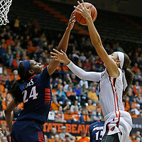 Arizona's LaBrittany Jones blocks the Oregon State's Gabriella Hanson shot in the second half of an NCAA college basketball game in Corvallis, Ore., on Friday, Jan. 29, 2016. Oregon State won 71-43. (AP Photo/Timothy J. Gonzalez)
