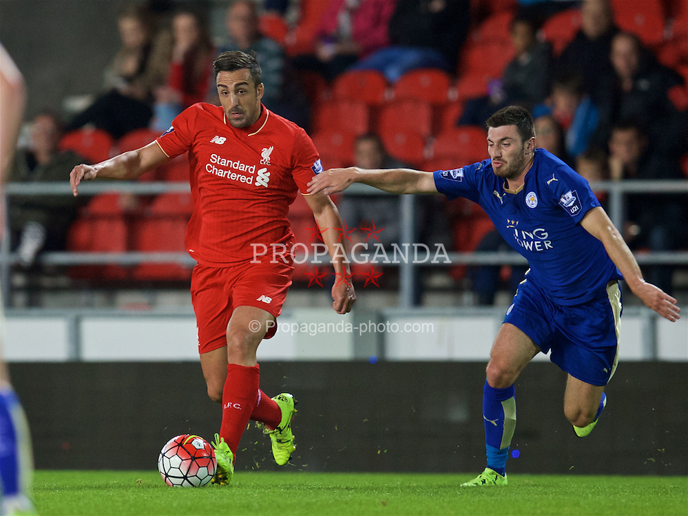ST HELENS, ENGLAND - Monday, September 28, 2015: Liverpool's Jose Enrique in action against Leicester City during the Under 21 FA Premier League match at Langtree Park. (Pic by David Rawcliffe/Propaganda)