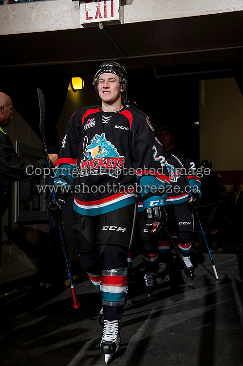 KELOWNA, CANADA - OCTOBER 4: Kyle Topping #24 of the Kelowna Rockets enters the ice for second period against the Victoria Royals on October 4, 2017 at Prospera Place in Kelowna, British Columbia, Canada.  (Photo by Marissa Baecker/Shoot the Breeze)  *** Local Caption ***