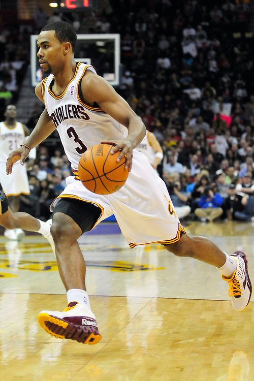 April 13, 2011; Cleveland, OH, USA; Cleveland Cavaliers point guard Ramon Sessions (3) drives to the lane during the second quarter against the Washington Wizards at Quicken Loans Arena. Mandatory Credit: Jason Miller-US PRESSWIRE
