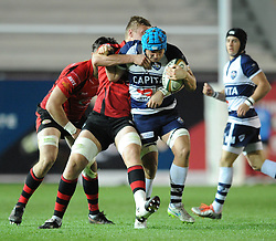 Bristol Rugby's Olly Robinson is closed down by Jersey Rugby's Pierce Phillips - Photo mandatory by-line: Dougie Allward/JMP - Mobile: 07966 386802 - 17/04/2015 - SPORT - Rugby - Bristol - Ashton Gate - Bristol Rugby v Jersey - Greene King IPA Championship