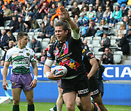 Louie McCarthy-Scarsbrook of St Helens celebrates scoring a try against Hull FC during the Betfred Super League match at the Dacia Magic Weekend at St. James's Park, Newcastle<br /> Picture by Stephen Gaunt/Focus Images Ltd +447904 833202<br /> 20/05/2017