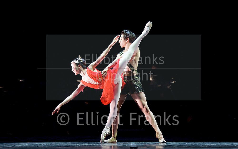 Cesar Corrales named as the English Nati   onal Ballet Emerging Dancer 2016 <br /> 17th May 2016<br /> <br /> English National Ballet <br /> Emerging Dancer 2016 <br /> at the Palladium, London, Great Britain <br /> 17th May 2016 <br /> rehearsals<br /> <br /> <br /> Pas de deux <br /> Diana and Acteon <br /> choreography by Agrippina Vaganova<br /> <br /> <br /> Rina Kanehara<br /> Cesar Corrales<br /> <br /> <br /> <br /> <br /> <br /> Photograph by Elliott Franks <br /> Image licensed to Elliott Franks Photography Services