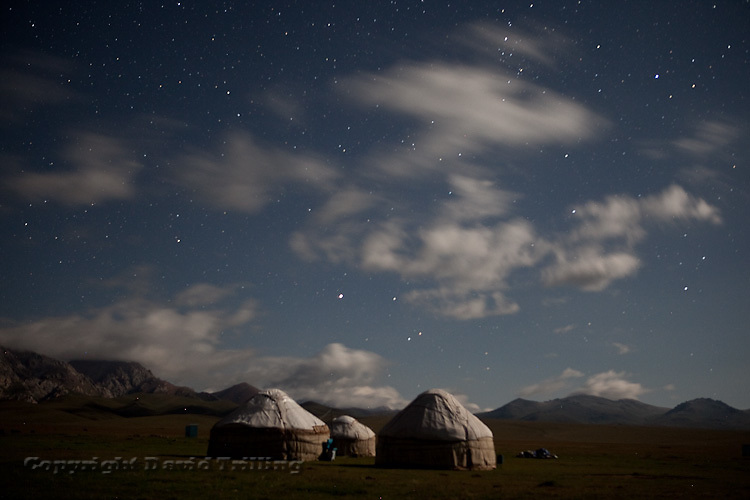 Nomad yurts surround Lake Song Kul, at 3000 meters, in summer. August 2010.