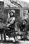 Barefoot girls sifting dust in a brickyard.  Dust was coal, or iron and coal dust. It was estimated that at this time there were between 20,000 & 30,000 children aged 5 to 16 at work in British brickyards. Wood engraving 1871.