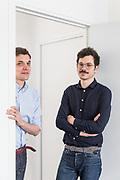 Paris, May 16 2019 - Portrait of graphic designers Alexandre Dimos (left) & Ghislain Triboulet (right), partners at deValence studio.