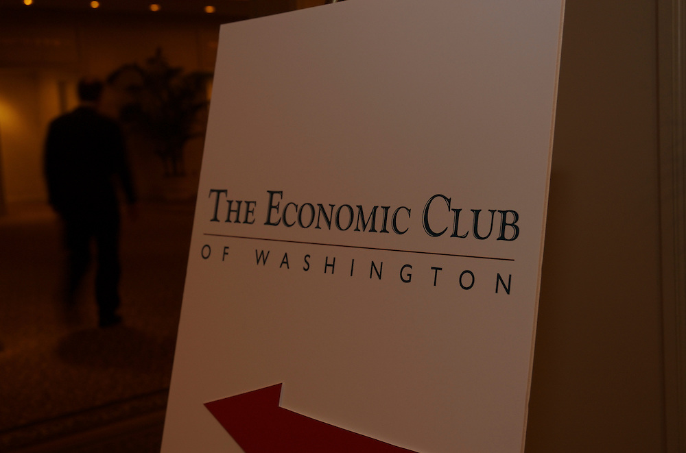 Michael Turner, CEO of BAE Systems PLC, addresses members of the Economic Club of Washington at the Ritz Carlton Washington DC