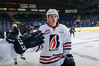 KELOWNA, CANADA - SEPTEMBER 5: Sean Strange #6 of the Kamloops Blazers celebrates a goal against the Kelowna Rockets on September 5, 2017 at Prospera Place in Kelowna, British Columbia, Canada.  (Photo by Marissa Baecker/Shoot the Breeze)  *** Local Caption ***