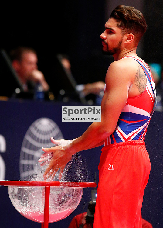 2015 Artistic Gymnastics World Championships being held in Glasgow from 23rd October to 1st November 2015...Louis Smith (Great Britain) competing in the Pommel Horse competition..(c) STEPHEN LAWSON | SportPix.org.uk