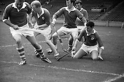 17/08/1969<br /> 08/17/1969<br /> 17 August 1969<br /> All-Ireland Junior Semi-Final: Kerry v Louth at Croke Park, Dublin.<br /> Kerry forwards, L. MacCatthaigh (right) and S. MagFhionntain (left) in attack on Louth goalmouth with Louth backs, S. O'Dulainne and S. Breathnach opposing.