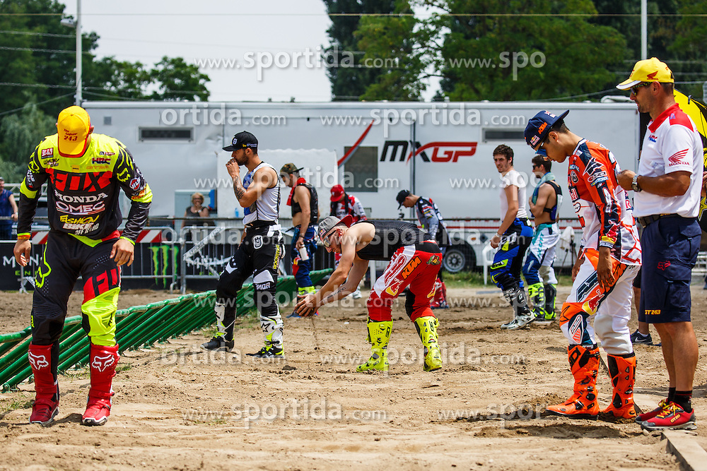 Tim Gajser of Slovenija #243, Antonio Cairoli of Italy #222 and Glenn Coldenhoff of Netherland #259 during MXGP race for MXGP Championship in Mantova, Italy on 26th of June, 2016 in Italy Photo by Grega Valancic / Sportida