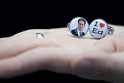 © Licensed to London News Pictures. 30/09/2012. Manchester, UK .Stall selling I love Ed cufflinks . Labour Party Conference Day 1 at Manchester Central . Photo credit : Joel Goodman/LNP