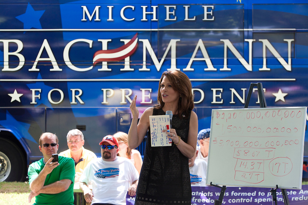 Republican presidential hopeful Michele Bachmann campaigns on Sunday, July 31, 2011 in Spencer, IA.