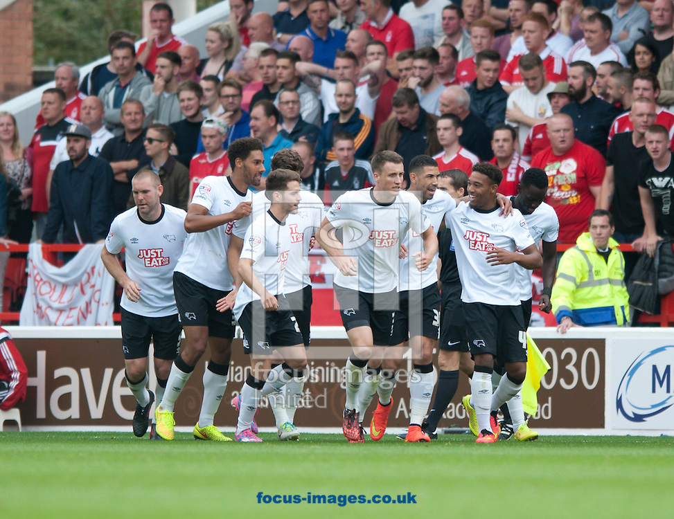Derby County players celebrate after Leon Best equalises to make it 1-1 during the Sky Bet Championship match at the City Ground, Nottingham<br /> Picture by Russell Hart/Focus Images Ltd 07791 688 420<br /> 14/09/2014