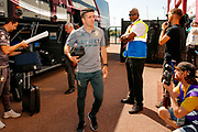Leeds United midfielder Pablo Hernandez (19) arriving  during the EFL Sky Bet Championship match between Stoke City and Leeds United at the Bet365 Stadium, Stoke-on-Trent, England on 24 August 2019.