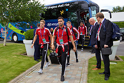 LILLE, FRANCE - Wednesday, June 15, 2016: Wales' David Edwards and Hal Robson-Kanu arrive at the team hotel, the Novotel Lens Noyelles, ahead of their Group Stage MD 2 game of the UEFA Euro 2016 Championship against England. (Pic by David Rawcliffe/Propaganda)