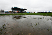 General view of a puddle next to the pitch as heavy rain falls from Storm Dennis at the Memorial Stadium ahead the EFL Sky Bet League 1 match between Bristol Rovers and Blackpool at the Memorial Stadium, Bristol, England on 15 February 2020.