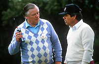 Joe Flanagan, public relations officer, PJ Carroll & Co Ltd, tobacco manufacturer, with walkie-talkie in conversation with top American professonal golfer, Lee Trevino, at the 1985 Irish Open Golf Champsionship. PJ Carroll & Company Ltd were the major sponsor of the event. 19850605LT1..Copyright Image from Victor Patterson, 54 Dorchester Park, Belfast, UK, BT9 6RJ..Tel: +44 28 9066 1296.Mob: +44 7802 353836.Voicemail +44 20 8816 7153.Skype: victorpattersonbelfast.Email: victorpatterson@me.com.Email: victorpatterson@ireland.com (back-up)..IMPORTANT: If you wish to use this image or any other of my images please go to www.victorpatterson.com and click on the Terms & Conditions. Then contact me by email or phone with the reference number(s) of the image(s) concerned.