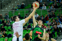 Vlatko Cancar of Mega Bemax and Igor Tratnik of Petrol Olimpija during Basketballl match between Petrol Olimpija Ljubljana and Mega Bemax in Round #15 of ABA League, on January 5, 2018 in Arena Stozice, Ljubljana, Slovenia. Photo by Ziga Zupan / Sportida