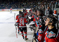 KELOWNA, CANADA - NOVEMBER 9:  Ryan Olsen #27,  Zach Franko #9,  Madison Bowey #4, Jesse Lees #2 and Tyson Baillie #24 of the Kelowna Rockets celebrate a goal against the Red Deer Rebels at the Kelowna Rockets on November 9, 2012 at Prospera Place in Kelowna, British Columbia, Canada (Photo by Marissa Baecker/Shoot the Breeze) *** Local Caption ***