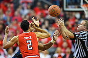 LUBBOCK, TX - JANUARY 13: Zhaire Smith #2 of the Texas Tech Red Raiders and Sagaba Konate #50 of the West Virginia Mountaineers at the opening tip off of the game between the Texas Tech Red Raiders and the West Virginia Mountaineers on January 13, 2018 at United Supermarket Arena in Lubbock, Texas. Texas Tech defeated West Virginia 72-71. (Photo by John Weast/Getty Images) *** Local Caption *** Zhaire Smith;Sagaba Konate