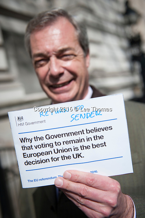 London, UK. 15th April, 2016. UKIP Leader Nigel Farage together with UKIP Deputy Chairman and Home Affairs Spokesman Diane James MEP and Peter Whittle, UKIP's London Mayoral candidate, hand deliver a letter to 10 Downing Street referencing the recent pro-EU Government communication to all UK households.  Pictured: // Lee Thomas, Flat 47a Park East Building, Bow Quarter, London, E3 2UT. Tel. 07784142973. Email: leepthomas@gmail.com. www.leept.co.uk (0000635435)