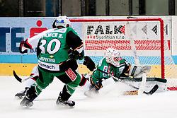 07.10.2012, Hostan Arena, Znojmo, CZE, EBEL, HC Orli Znojmo vs HDD Olimpija Ljubljana, 10. Runde, im Bild # 30. Pance Erik LJU, 35. Kuhn Jerry LJU, 66. Roznik Juraj ZN  during the Erste Bank Icehockey League 10nd round match betweeen HC Orli Znojmo and HDD Olimpija Ljubljana at the Hostan Arena, Znojmo, Czech Republic on 2012/10/07. EXPA Pictures © 2012, PhotoCredit: EXPA/  Rostislav Pfeffer
