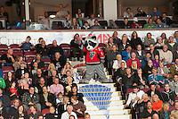 KELOWNA, CANADA - OCTOBER 10: Rocky Racoon, mascot of the Kelowna Rockets celebrates a goal against the Spokane Chiefs  at the Kelowna Rockets on October 10, 2012 at Prospera Place in Kelowna, British Columbia, Canada (Photo by Marissa Baecker/Shoot the Breeze) *** Local Caption ***