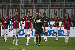 September 1, 2018 - Milan, Italy - Serie A football, AC Milan versus AS Roma; Milan player players hold on the referee decision about second goal of AS Roma (Credit Image: © Gaetano Piazzolla/Pacific Press via ZUMA Wire)