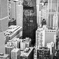 Chicago aerial vertical panoramic picture in black and white with John Hancock Building and Lake Shore Drive. Photo panoramic ratio is 1:3.