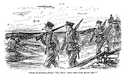 """Tommy (on Salisbury Plain). """"My, Bill! Ain't they tame round 'ere?"""" (soldiers return home from the front and comment on the calmness of training exercises involving planes during WW1)"""