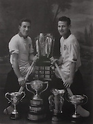 Waterford's Larry Guinan and captain Frankie Walsh with trophies won in the 1959 campaign.