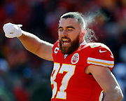 Kansas City Chiefs tight end Travis Kelce before the start of an NFL, AFC Championship football game against the Tennessee Titans, Sunday, Jan. 19, 2020, in Kansas City, MO. The Chiefs won 35-24 to advance to Super Bowl 54. Photo/Colin E. Braley