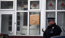 © Licensed to London News Pictures. 04/04/2018. London, UK. Papers covers a bullet hole on a property on Chalgrove Road, Tottenham, north London, at the scene where 17 year old Tanesha Melbourne, was shot dead on Monday. A recent spree of killings in the capital has taken the murder toll for the year so far to 48. Photo credit: Ben Cawthra/LNP